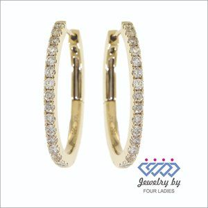 Natural Diamond Simple Hoops Earrings Yellow Gold
